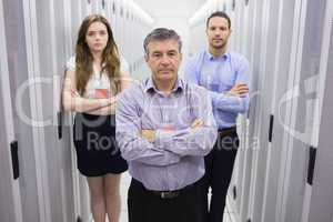 Three people in data center