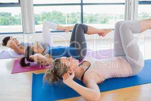 Women doing core exercise