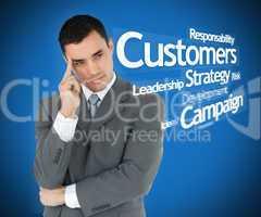 Businessman standing thinking blue background