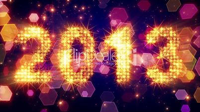 new year 2013 greetings glowing yellow particles loop