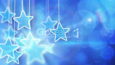 blue hanging stars and bokeh lights loop background