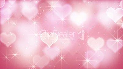 pink bokeh hearts and particles loop