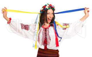 Attractive woman wears Ukrainian national dress is holding ukrai