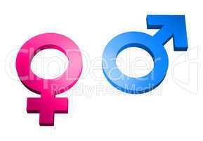 gender signs 3d on white