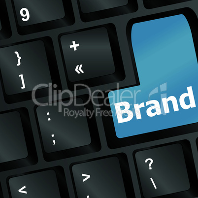 Blue vector wording brand on computer keyboard