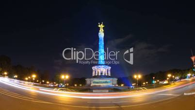 Berlin Goldelse (Siegessäule) with Light and Traffic Timelapse in 1080p HD, German Capital