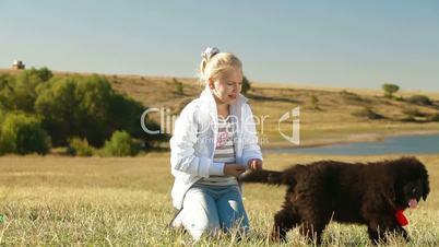 Little Girl Feeding Puppy Newfoundland