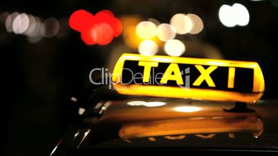 Berlin Taxi (Cab) driving with motion blur and city lights – In 1080p FullHD