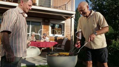 seniors garden grilling in summer