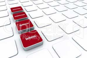 Quader Konzept Rot - Beratung Kompetenz Qualität Service 7