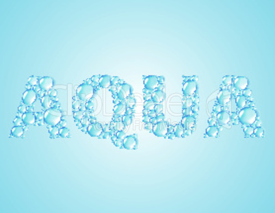 water drops shaped word AQUA -  vector background