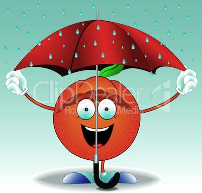 Orange under an umbrella