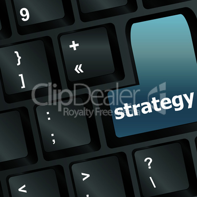 Strategy text with thumbs up symbol on keyboard - vector