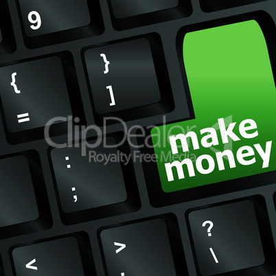 Keyboard - green key Make money, business concept, vector