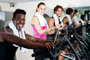 Energetic group working out together
