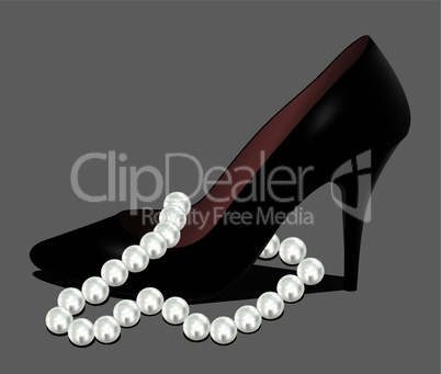 vector shoe and pearl beads