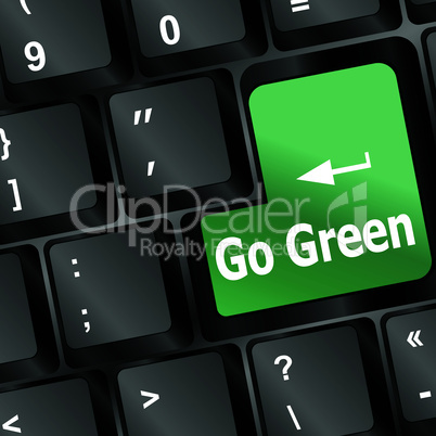 A keyboard with a key reading Go Green - vector
