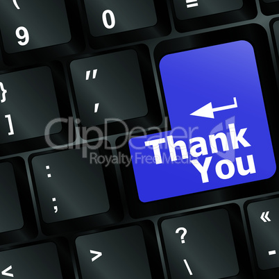 Computer keyboard with Thank You key, business concept