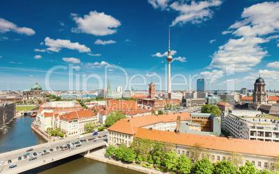 Berlin Skyline City Panorama with cloudy blue sky - famous landmark in Berlin, Germany, Europe