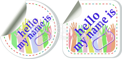 Hello my name is color signs sticker tag set
