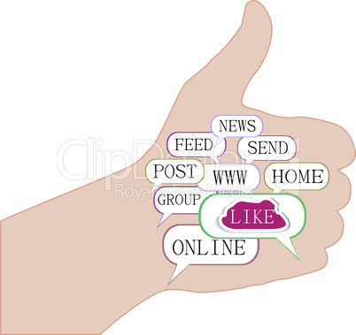Thumb up like hand symbol with tag cloud of word - vector