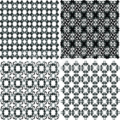 hand drawn seamless eastern floral patterns, monochrome vector signs