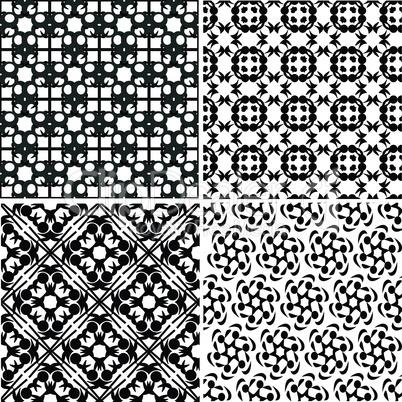 four vector seamless floral monochrome patterns. ornament texture