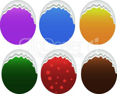 Torn oval paper set, vector label design
