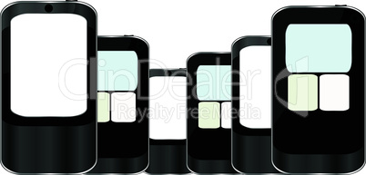 Smart Phones set isolated on white background - vector