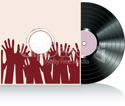 Vinyl disc cover in many human hands. Vector illustration