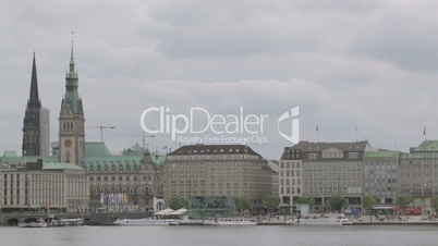 time lapse, timelapse, hamburg, germany, aerial, cityscape, landscape, view, scenery, river, elbe, boat, ship, calm, calmness, quiet, embankment, quay, architecture, water, reflection, building, town hall, rathaus, cloud, fast, speed, motion, movement,