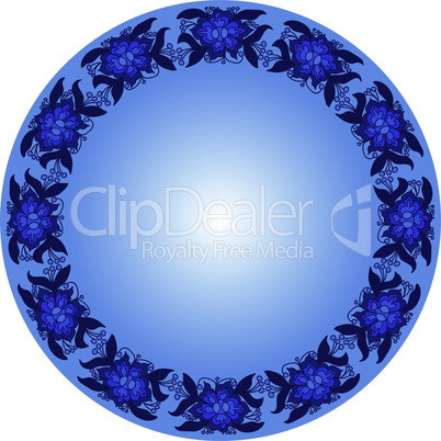 Round Frame from Floral Pattern