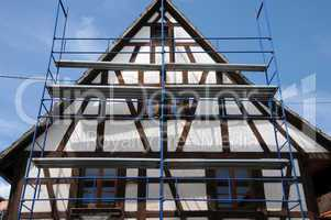 France, scaffold on a building site in Kintzheim in Alsace