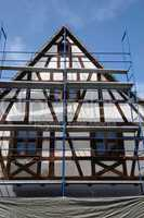 France, scaffold on a building site in Kintzheim in Alsace