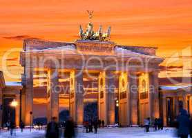 berlin brandenburger tor winter sunset