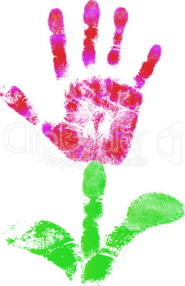 Palm print flower of hand of child as logo or icon sign