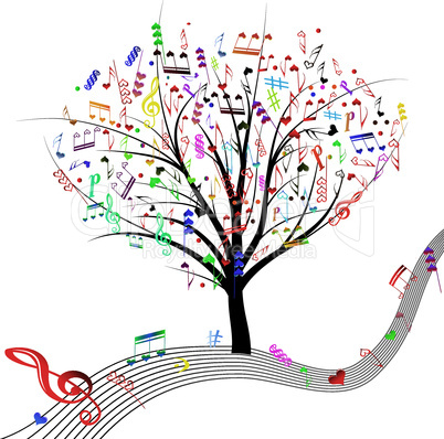 Music tree hearts note symbol