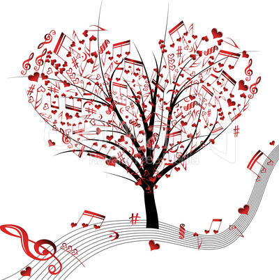 Music tree hearts note symbol vector on wave lines