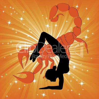 Woman in yoga scorpio asana sport on wave background