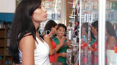 Shopping Women in Cosmetics Shop