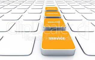 Quader Konzept Orange - Beratung Kompetenz Qualität Service 9