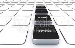 Quader Konzept Schwarz - Beratung Kompetenz Qualität Service 11