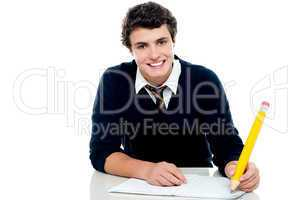Smiling attractive youngster kid studying