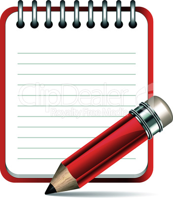 Vector pencil and notepad icon