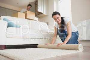 Two people furnishing the house new home