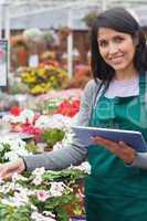 Smiling worker checking flowers in garden center