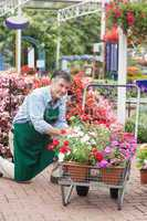 Garden center worker with trolley