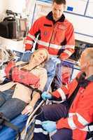 Emergency patient stabilization broken arm car