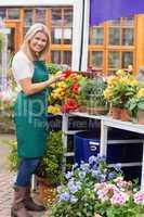 Woman handling the flowers