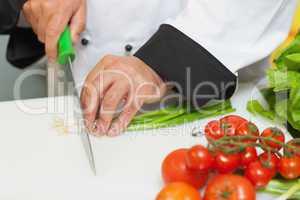 Chef cutting spring onions